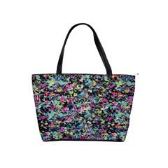 Neon Floral Print Silver Spandex Shoulder Handbags