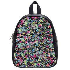 Neon Floral Print Silver Spandex School Bags (Small)