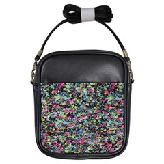 Neon Floral Print Silver Spandex Girls Sling Bags