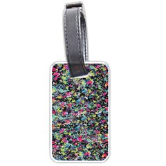Neon Floral Print Silver Spandex Luggage Tags (two Sides)