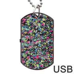 Neon Floral Print Silver Spandex Dog Tag USB Flash (Two Sides)