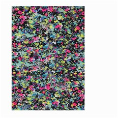 Neon Floral Print Silver Spandex Large Garden Flag (Two Sides)