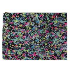 Neon Floral Print Silver Spandex Cosmetic Bag (XXL)