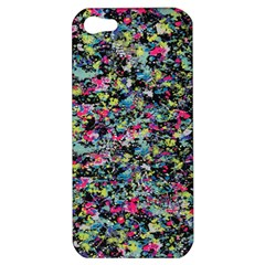 Neon Floral Print Silver Spandex Apple Iphone 5 Hardshell Case