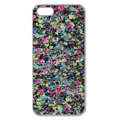 Neon Floral Print Silver Spandex Apple Seamless Iphone 5 Case (clear)
