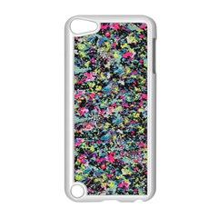 Neon Floral Print Silver Spandex Apple iPod Touch 5 Case (White)