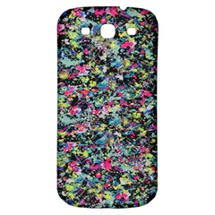Neon Floral Print Silver Spandex Samsung Galaxy S3 S III Classic Hardshell Back Case