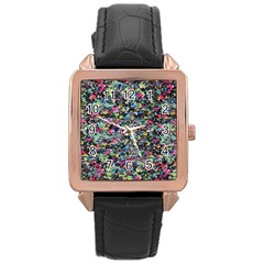 Neon Floral Print Silver Spandex Rose Gold Leather Watch