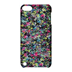 Neon Floral Print Silver Spandex Apple iPod Touch 5 Hardshell Case with Stand