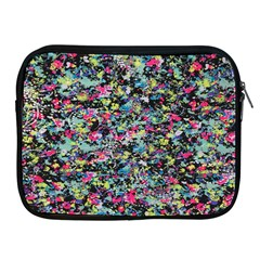 Neon Floral Print Silver Spandex Apple iPad 2/3/4 Zipper Cases