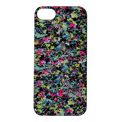 Neon Floral Print Silver Spandex Apple Iphone 5s/ Se Hardshell Case