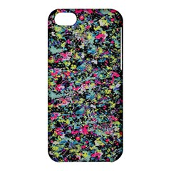 Neon Floral Print Silver Spandex Apple Iphone 5c Hardshell Case