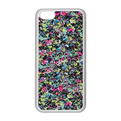 Neon Floral Print Silver Spandex Apple Iphone 5c Seamless Case (white)