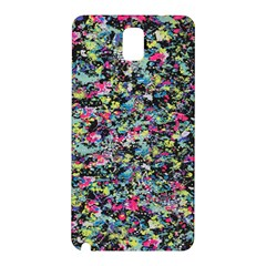 Neon Floral Print Silver Spandex Samsung Galaxy Note 3 N9005 Hardshell Back Case