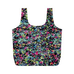 Neon Floral Print Silver Spandex Full Print Recycle Bags (m)