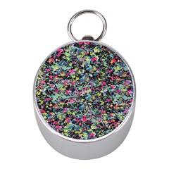Neon Floral Print Silver Spandex Mini Silver Compasses