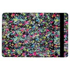 Neon Floral Print Silver Spandex iPad Air Flip