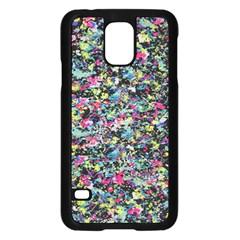 Neon Floral Print Silver Spandex Samsung Galaxy S5 Case (black)