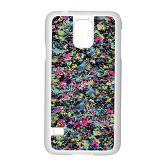 Neon Floral Print Silver Spandex Samsung Galaxy S5 Case (white)