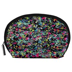 Neon Floral Print Silver Spandex Accessory Pouches (Large)