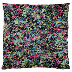 Neon Floral Print Silver Spandex Standard Flano Cushion Case (One Side)