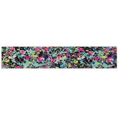 Neon Floral Print Silver Spandex Flano Scarf (Large)