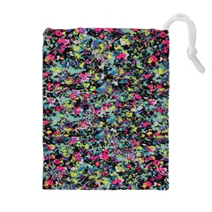 Neon Floral Print Silver Spandex Drawstring Pouches (Extra Large)