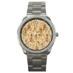 Patterns Flowers Petals Shape Background Sport Metal Watch