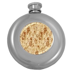 Patterns Flowers Petals Shape Background Round Hip Flask (5 oz)