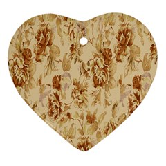 Patterns Flowers Petals Shape Background Heart Ornament (Two Sides)
