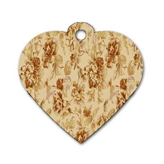 Patterns Flowers Petals Shape Background Dog Tag Heart (One Side)
