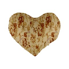 Patterns Flowers Petals Shape Background Standard 16  Premium Heart Shape Cushions
