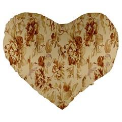 Patterns Flowers Petals Shape Background Large 19  Premium Heart Shape Cushions