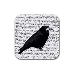 Black raven  Rubber Square Coaster (4 pack)