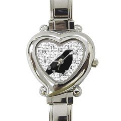 Black raven  Heart Italian Charm Watch