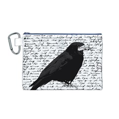 Black raven  Canvas Cosmetic Bag (M)