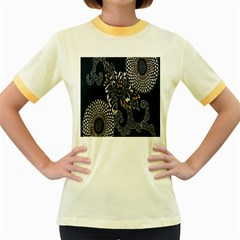 Patterns Dark Shape Surface Women s Fitted Ringer T-Shirts