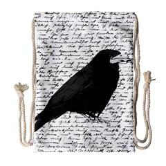 Black raven  Drawstring Bag (Large)