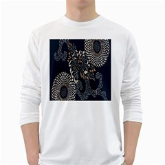 Patterns Dark Shape Surface White Long Sleeve T Shirts