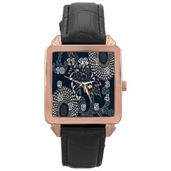 Patterns Dark Shape Surface Rose Gold Leather Watch
