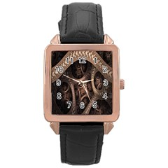 Patterns Dive Background Rose Gold Leather Watch