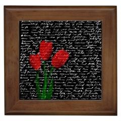 Red tulips Framed Tiles