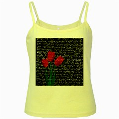 Red tulips Yellow Spaghetti Tank