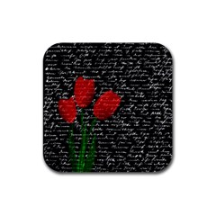 Red tulips Rubber Square Coaster (4 pack)