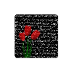 Red tulips Square Magnet