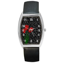 Red tulips Barrel Style Metal Watch
