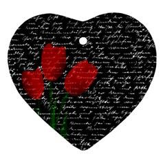 Red tulips Heart Ornament (Two Sides)