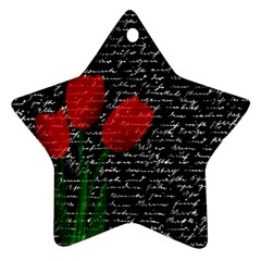 Red tulips Star Ornament (Two Sides)