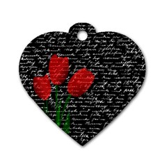 Red tulips Dog Tag Heart (Two Sides)