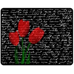 Red tulips Fleece Blanket (Medium)